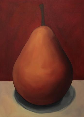 Painting of a pear with a red background