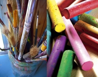 Colored pencils and paintbrushes.